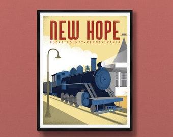 New Hope art print   train decor   steam train wall art   Bucks County PA   Pennsylvania poster   Philadelphia gift   Philly souvenir