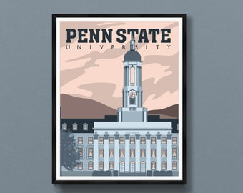 Penn State gifts   Penn State art print   Old Main poster   State College wall decor   PSU souvenir   Happy Valley   PA