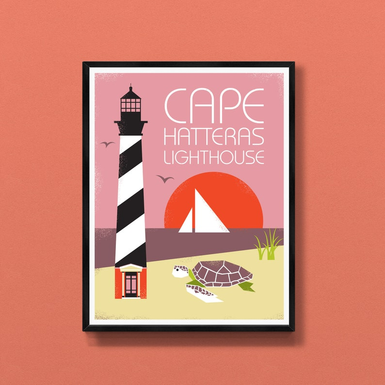 Cape Hatteras Lighthouse art print  Outer Banks poster  image 0