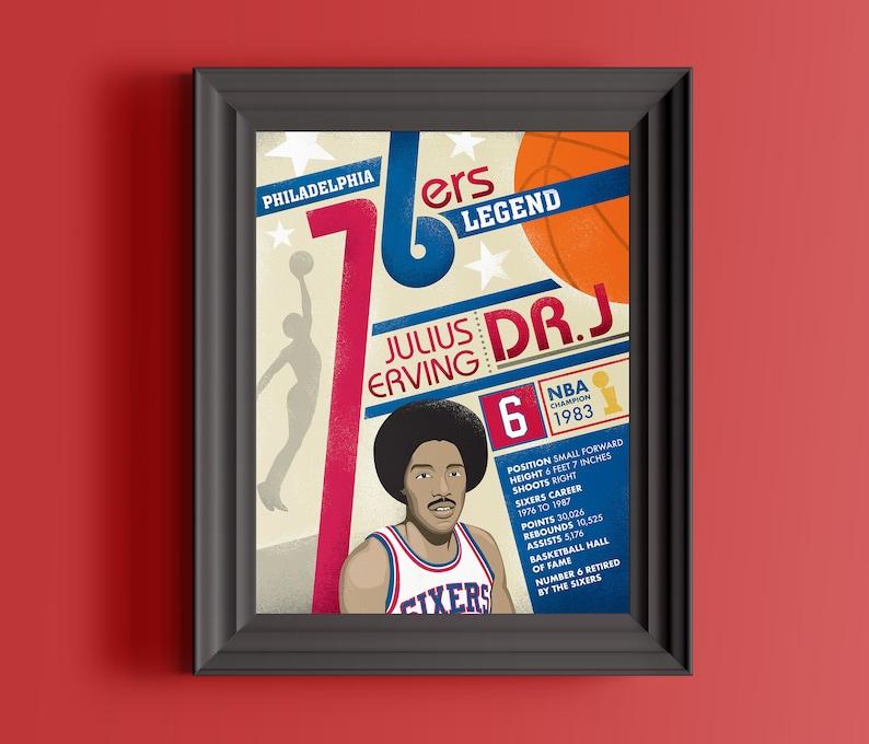Philadelphia 76ers prints  Philadelphia Sixers gift  Dr J  image 0