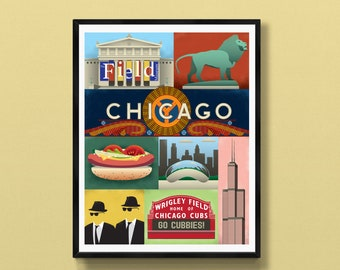 Chicago poster   Chicago gifts   Chicago decor   Chicago souvenir   Chicago wall art   Blues Brothers   Wrigley Field   Chi town   Illinois