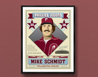 Mike Schmidt art print   Philadelphia Phillies poster   Philly sports souvenir   Philadelphia gift   Veterans Stadium   Harry Kalas