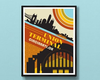 Union Terminal wall art   Cincinnati skyline   Ohio print   Cincinnati gift   Cincinnati, OH   Roebling Bridge   Cincinnati poster