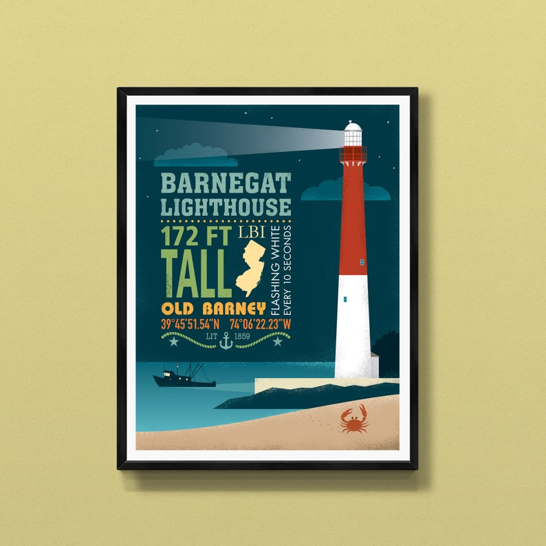 Barnegat Lighthouse  Long Beach Island  New Jersey wall art image 0