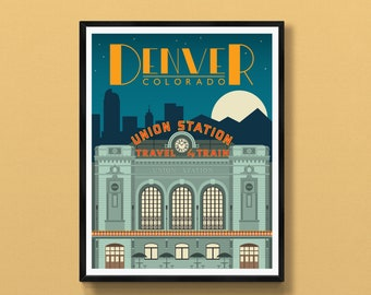Denver art print   Union Station decor   Denver skyline   Colorado gift   Denver travel poster   Denver souvenir   Denver, CO