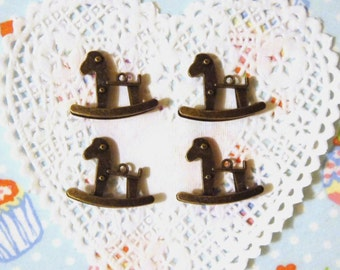 Metal Vintage Style Rocking Horse Charms