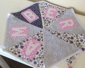 Personalised, Custom Name Bunting Baby girl gift, Nursery Decor,Christnening gift.