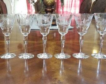 Vintage Wine Sherry Cordial Glasses Set of 6