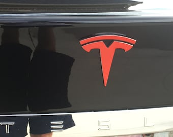 "Tesla Model S Tailgate ""T"" Logo Accent Decal Chrome Delete"