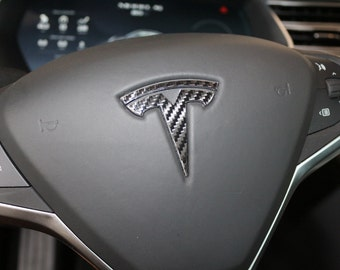 "Tesla Model S / X Steering Wheel ""T"" Logo Decal Chrome Delete"