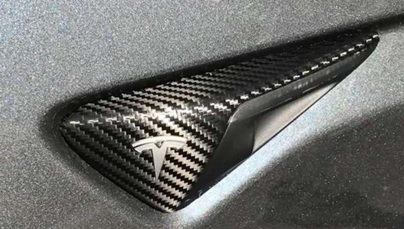 Tesla Model S / X / 3 Side Turn Signal Indicator Wrap Chrome image 0