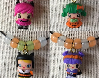 Mini Mixie Q Halloween pendant on cord necklace - Kitten - Pumpkin - Trick or Treat - upcycle toys - blind box