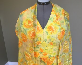 Vintage 1970's golden floral dress with matching tasseled wrap - yellow and orange roses - full length - floor length dress