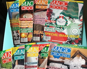 Magic Crochet vintage craft magazine back issues from 1991, 1992, 1993 - crafting - craft projects