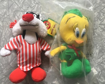 5e8faa7f8ba 1992 Lot of 2 NWT Looney Tunes Tweety   Sylvester the Cat McDonald s  Christmas Plush