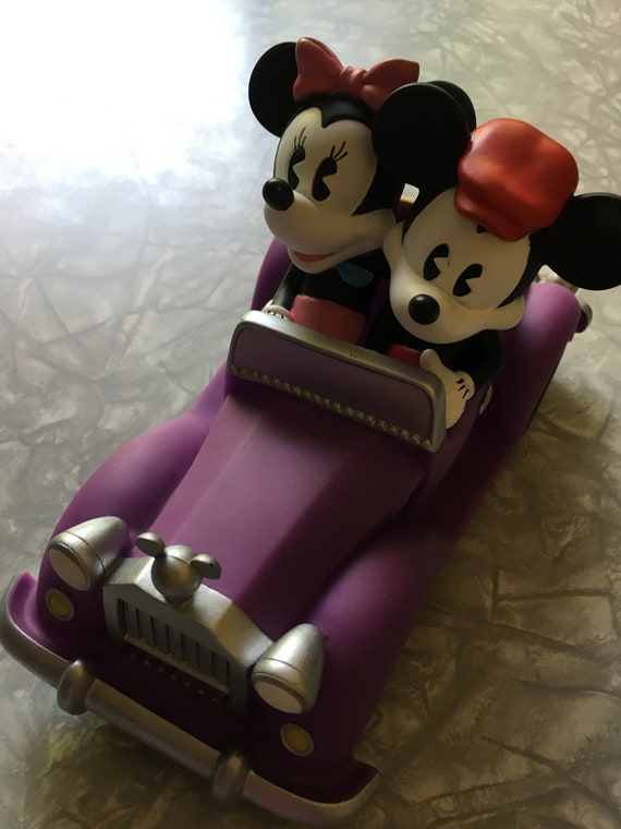 6b07c4bc10e 90 s Disney Mickey   Minnie in car Plastic Piggy Bank   Etsy