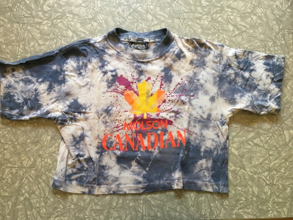 b5539c81b Molson Canadian acid washed tie dye cropped neon graphic tee | Etsy