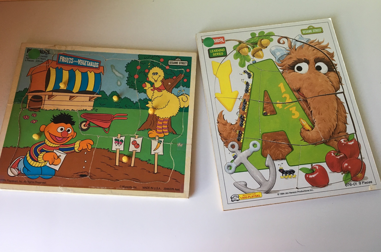 Vtg Playskool Sesame Street toddler tray puzzles