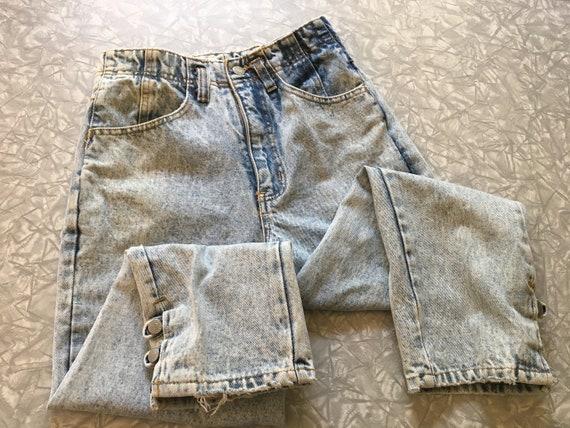 Vtg Jordache High Waisted Pleated Acid Wash Jeans
