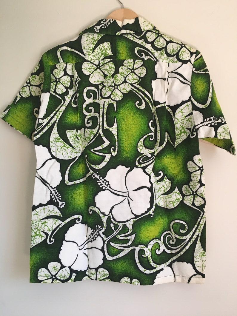 Vtg 1970/'s Surfside Sportswear Hawaiian Shirt Green and White hibiscus floral print