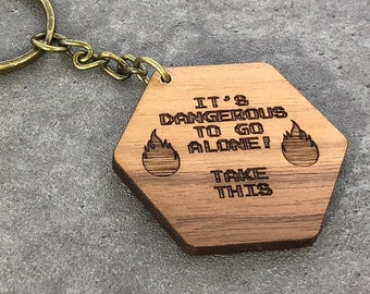 It's Dangerous to go Alone Zelda Walnut Wood Keychain with Bronze Ring