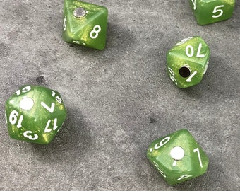 Polyhedral RPG Dice Magnets - Set of 7 Moss Green