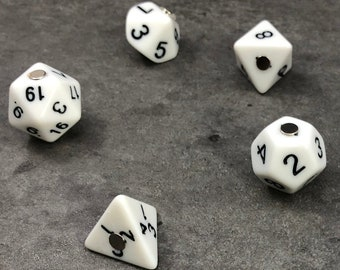 Polyhedral RPG Dice Magnets - Set of 7 White