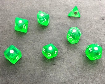 Polyhedral RPG Dice Magnets - Set of 7 Translucent Green