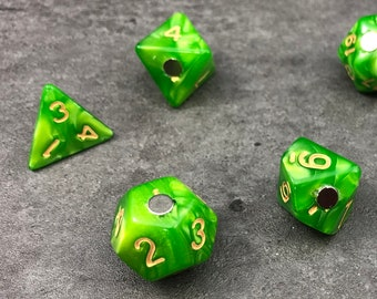Polyhedral RPG Dice Magnets - Set of 7 Meadow Green