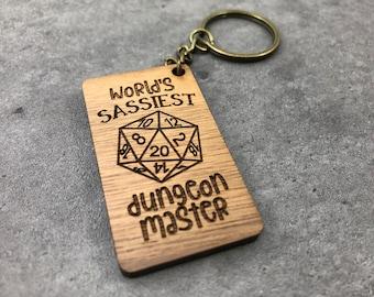 Walnut Keychain - World's Sassiest Dungeon Master