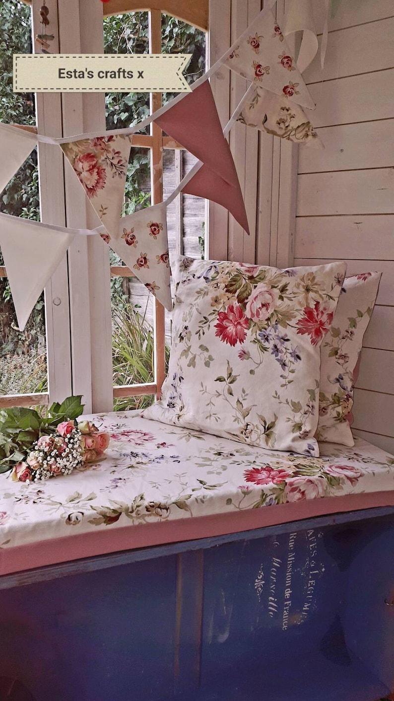 Window seat cushions Shabby chic English vintage floral bench cushions summerhouse window bench bespoke Handmade made to measure Beautiful