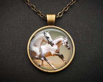 White horse necklace Equestrian Gift - Horse Rider Necklace Gift For Equestrian - White Horse Jewelry Rider Gift - Horse Rider Jewelry Gift