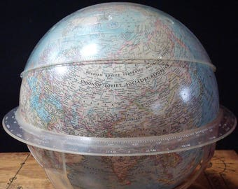 Vintage 12 Inch National Geographic Society World Desktop Globe by Replogle Copyright 1961