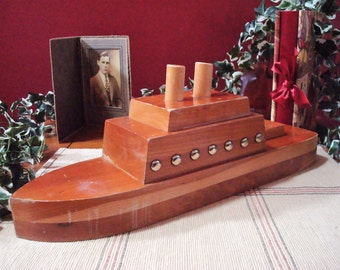 Vintage Wooden Mahogany Toy Ocean Liner - Steamship - Steamer - Boat with Two Smoke Stacks