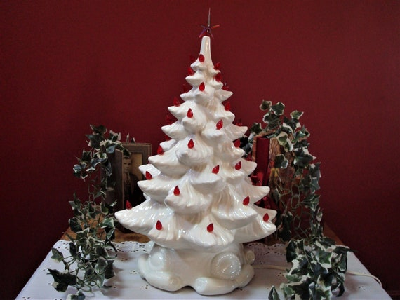 Vintage White Ceramic Christmas Tree.Vintage Large Size White Ceramic Christmas Tree With Red Colored Lights Red Star Topper And Scroll Base Ca 1980 S