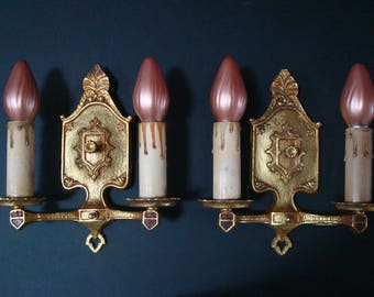 Vintage Pair of Art Deco Tudor / Gothic Style Two Candle Brass Wall Sconces, ca. 1930's