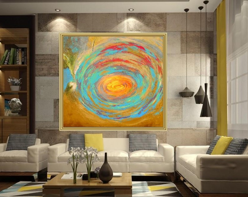 Peinture Acrylique Abstraite Sur Toile Peint à La Main Grand Etsy