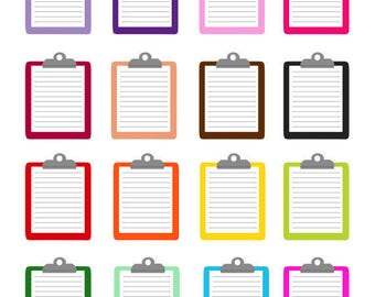 set of colorful clipboard clip art set note pad report checklist illustration png