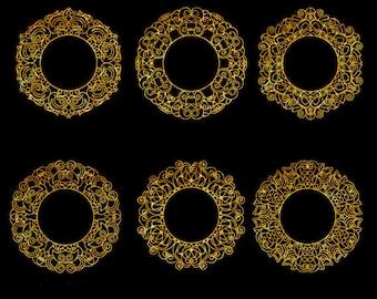 Golden Frames Clip Art Set, Collection, Digital, Design Element, Decorative