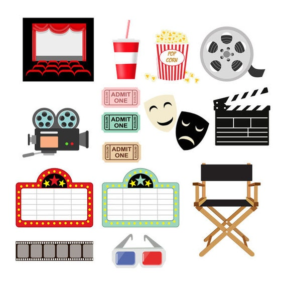 Movie Cliparts Movie Clipart Cinema Movie Ticket Popcorn Etsy