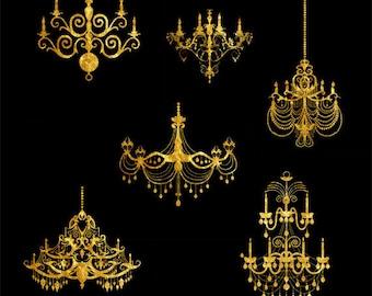 Gold Chandeliers Clip Art Set, Decor, Fashion, Classic, Design