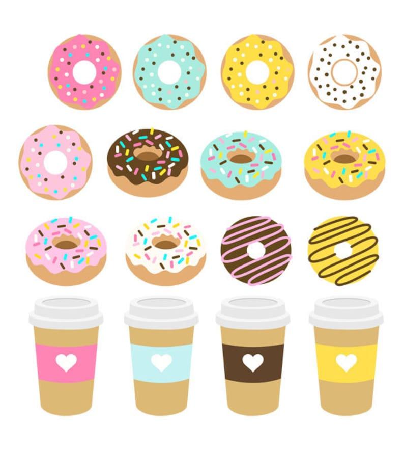 Donuts Clip Art Set Dessert Chocolate Caramel Bun Sweet image 0