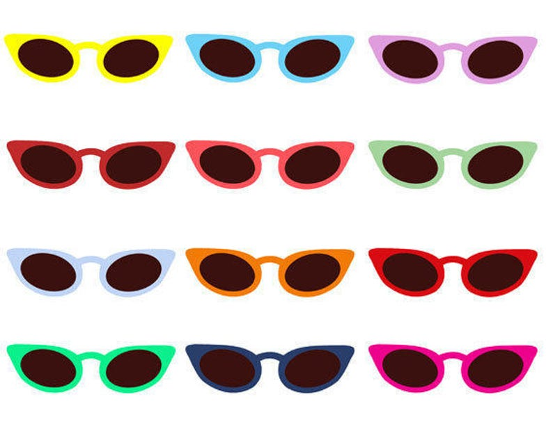 07f67b08ef Sun Glasses Clip Art Collection Cat Eyes Summer Sunny