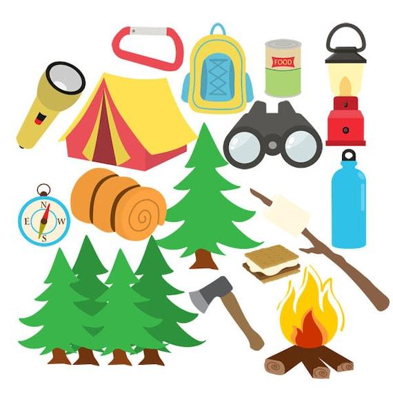 Camping Clip Art Ensemble Lete Aventure Randonnee Etsy