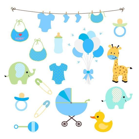 Baby Boy Clip Art Set Blue Baby Shower Baby Boy Shower Etsy