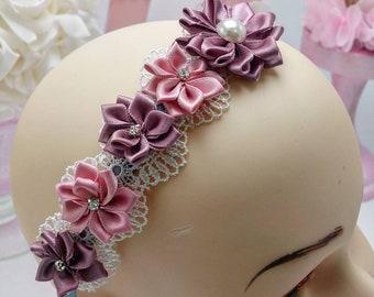 Floral headband, applique headband, dainty headband, elegant headband, flower girl accessories, bridal accessories