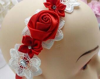Headband, shabby chic headband, applique headband, elegant headband, bridal accessories, flower girl accessories, floral headband