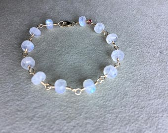 Rainbow Moonstone & Ruby Bracelet 14KT Gold Filled, Wire Wrapped, Beaded Rosary Chain Bracelet, Gemstone Bracelet, Meditation Bracelet