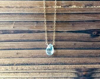 Blue Topaz Gemstone 14KT Gold Filled Necklace, Blue Topaz, Gold Filled Necklace