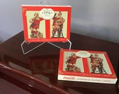 Vintage Coca Cola Nostalgia 1994 Santa Double Deck Unopened Playing Cards in Original Tins and Boxes.